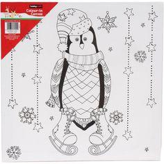 Christmas Penguin Colour-In Canvas 20 x 30 cm