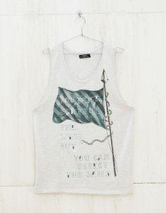 Flag tank top - T-shirts - Bershka United Kingdom