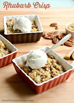 Rhubarb Crisp with no other fruit because why hide the flavor of rhubarb with something else!