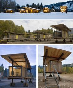 Rolling Huts is a modern alternative to camping, designed by Tom Kundig of Olson Sundberg Kundig Allen Architects in Seattle. Tiny House Village, Tiny House Cabin, Tiny Houses, Wooden Shack, Modern Prefab Homes, Container Cabin, Portable House, Types Of Houses, House On Wheels