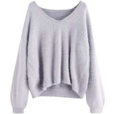 ROMWE Women's Loose Puff Sleeve V Neck Fuzzy Pullovers Jumper (1.475 RUB) ❤ liked on Polyvore featuring tops, sweaters, shirts, jumpers, puff sleeve sweater, v-neck shirt, puffed sleeve shirt, v neck sweater and fuzzy pullover