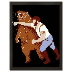 Pixelated Man Punching Bear Print Art