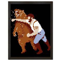 Pixelated Man Punching Bear Print Art