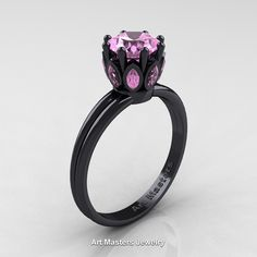 Classic 14K Black Gold Marquise 1.0 Ct Round Light Pink Sapphire Solitaire Ring R90-14KBGLPS | Art Masters Jewelry