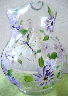 Handpainted glass pitcher with daisies by TivoliGardens on Etsy, $36.00