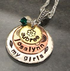 "Hand Stamped Mothers Necklace - ""My Girls"" - Mixed Metal Layered Discs with Kids Names - Copper, Silver, Brass Jewelry for Mom on Etsy, $48.00"