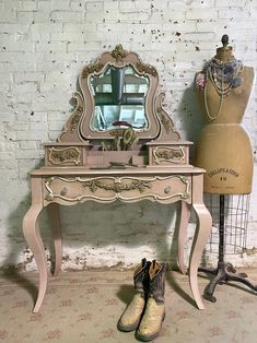 Painted Cottage Prairie Chic French Vanity and Mirror