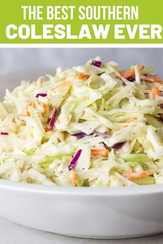 Southern Coleslaw Recipe also known as Cole Slaw with shredded cabbage, mayonnaise, apple cider vinegar, lemon juice and sugar are just some of the dressing ingredients. Everybody loves this crunchy, tangy and creamy 5 minute slaw. So tasty and easy! Healthy Coleslaw Recipes, Best Coleslaw Recipe, Bbq Slaw Recipe, Best Southern Coleslaw Recipe, Gluten Free Coleslaw Recipe, Caribbean Coleslaw Recipe, Salad Recipes, Coleslaw For Pulled Pork, Recipes