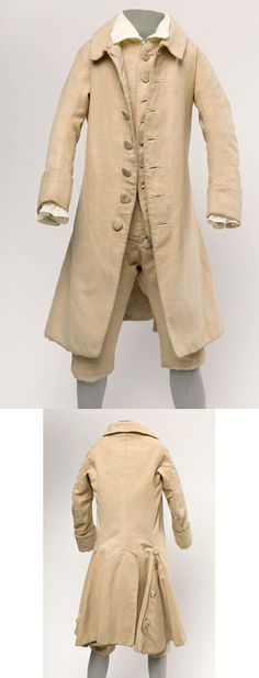 Boy's Suit (front and back), 1780 (made), England, Buff Linen. Comprising a coat, waistcoat and two pairs of breeches. Tony