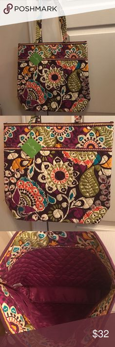 NWT Vera Bradley tote bag in plum crazy NWT Vera Bradley tote bag in plum crazy Vera Bradley Bags Totes