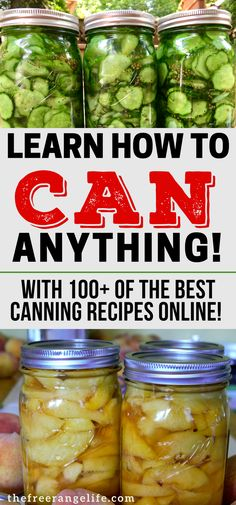 Canning Recipes! Learn how to preserve food at home with water bath canning and pressure canning with over 100 canning recipes to try!