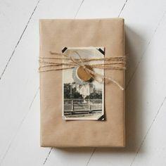 Nostalgic black & white photo and brown paper gift wrap.