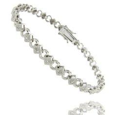 Sterling Silver Circle Square Diamond Accent Bracelet LEAH HANNA. $29.99. Save 45%!