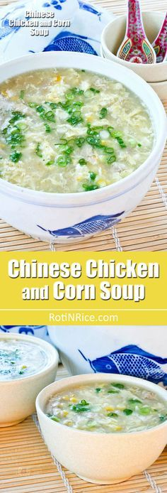 Shredded chicken meat, crunchy corn kernels, and chicken broth make up this easy Chinese Chicken and Corn Soup. A must try when fresh corn is in season.   RotiNRice.com