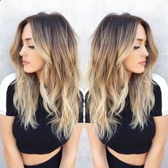Here's Every Last Bit of Balayage Blonde Hair Color Inspiration You Need. balayage is a freehand painting technique, usually focusing on the top layer of hair, resulting in a more natural and dimensional approach to highlighting. Hair Color And Cut, Ombre Hair Color, Blonde Color, Hair Colour, Hair Color Balayage, Balayage Hairstyle, Dark Brown To Blonde Balayage, Bayalage, Dark Roots Blonde Hair Balayage
