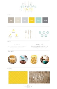Branding for Familiar Fare: I like the bright and cheery colour palette. If I had to describe this brand with just a single word, I'd say positivity or happiness.