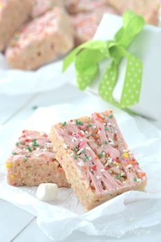 Cake Batter Rice Krispie Treats - Mother Thyme