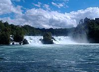 Rheinfall Panorama revised - Rhine Falls - the largest falls of Europe, close to Schaffhausen