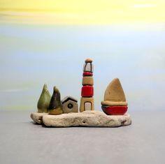 Little lighthouse, Red lighthouse, Little sculpture, Miniature lighthouse, Ceramic sculpture, Ceramic boat, Mentor gift, Teachers gift, Art by ednapio on Etsy