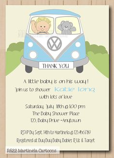 VW retro camper van baby shower invitation, baby boy shower invitation, digital, printable for DIY