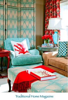 colourful interior; baby blue and red