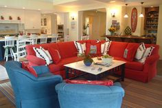 Red Couches Living Room Design Ideas, Pictures, Remodel, and Decor