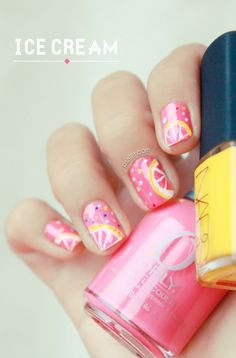 Grapefruit Ice Cream nail art: three color colour design: pink (Orly Coquette Cutie) base, yellow (Nars Amchoor) and white. @Megan Ward Ward Ward Dolan will you paint my nails like this pretty please