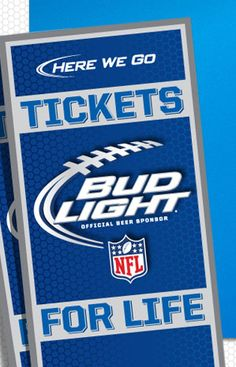 Bud Light beer is organizing the Football Tickets for Life Sweepstakes and is giving away the chance to win 2 tickets and a parking pass to every regular season home game for up to 50 years, beginning with the 2013 football season.