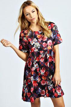 Lacey Floral Tartan Turn Back Cuff Smock Dress at boohoo.com