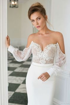 strapless sheath #wedding off shoulder long sleeves #weddingdress #weddings #sposa #bridal