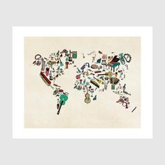world map symphony .colorful musical instruments by oxleystudio