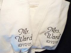 2 Personalized Robes Custom Couples Spa Gift Mr and Mrs Gift Bridal Shower Gift  Cotton Monogrammed Embroidered Robe Black Robe White Robe 352a7c444