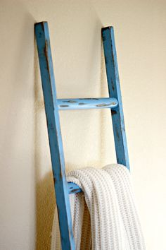 Blue Rustic decorative Ladder. Great accent piece as a blanket ladder. Beautifully designed by linenandlaceshop, $49.00