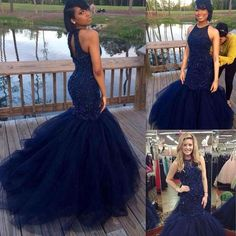 8cac3d1d7f78 Mermaid Long Prom Dresses 2017 Dark Navy Blue Beaded Graduation Evening  Gowns Key Hole Back Tulle Special Occasions Dress For Black Girl
