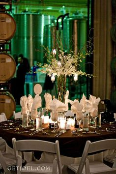 Flower centerpiece with white dendrobium orchids with curly willow and hanging votives at Calloway Winery Temecula