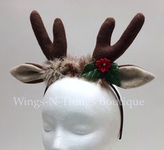 Check out REINDEER ANTLER HEADBAND, Christmas Costume Accesssory, gift, xmas, buck, photo prop, favor, mistletoe, toddler, adult, kids, child on wingsnthings13