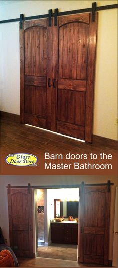Rustic barn doors in master bedroom to master bathroom