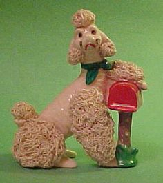 Vintage Pink POODLE with Mailbox.