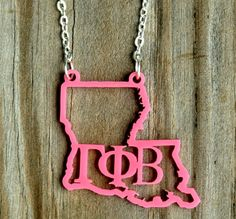 Acrylic Greek Sorority State Necklace - Any state, any color, any sorority. We love these! #ChicSororitySwag #PledgeWeekGifts