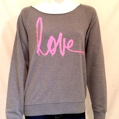 """Forever 21 Love Sweatshirt Forever 21 """"Love"""" Logo Sweatshirt with Long Sleeves. Color Gray, Size Medium. 60% Cotton, 40% Polyester. Measurements: Armpit to Armpit 21.5"""", Length of Shirt 25"""", Sleeve Length 28"""". Forever 21 Tops Sweatshirts & Hoodies"""