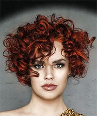 Short Curly Casual Hairstyle with Layered Bangs - Dark Red Hair Color Short Hairstyle - Curly Casual Curly Hair Styles, Curly Hair With Bangs, Colored Curly Hair, Curly Hair Cuts, Short Hair Cuts, Hair Bangs, Short Curly Haircuts, Curly Bob Hairstyles, Hairstyles With Bangs