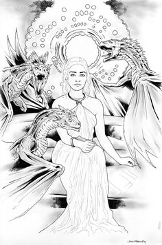 Daenerys Targaryen Game Of Thrones By JasonBaroodyArtwork Dragon LadyAdult ColoringColoring BooksColoring