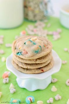 White Chocolate Lucky Charms Cookies: perfectly chewy cookies made with Lucky Charms cereal and marshmallows. Perfect for St. Patrick's Day or just for fun! Breakfast cookie anyone? www.thereciperebel.com