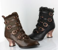 The first Granny boot by Hades with their signature flame buckle and stylish Spanish influenced heel.