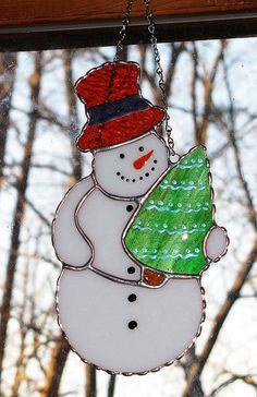 Vacances de Noël teinté verre Suncatcher hiver par GLASSbits