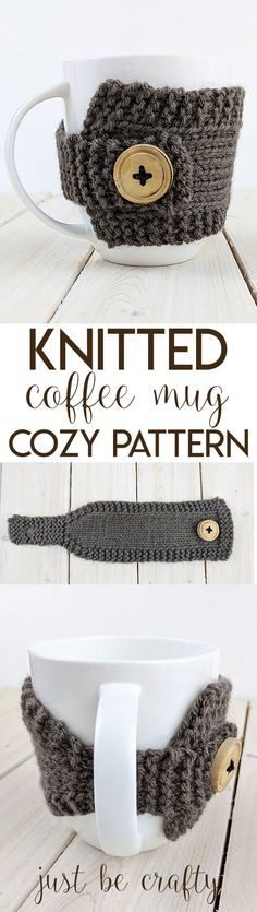 Knitted Coffee Mug Cozy Pattern | Free Pattern by Just Be Crafty