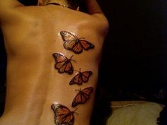 monarch butterflies~i remember a local bartender had multiple butterflies, and I adored the art on her arm.