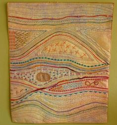 Stitching from sewing machine wall art