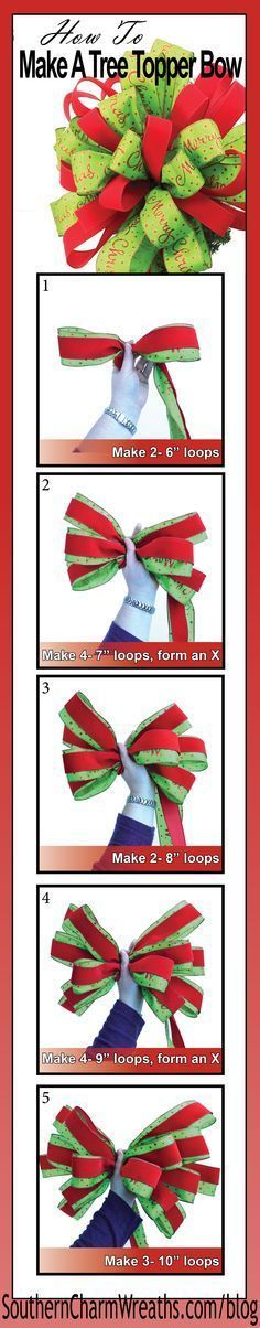 How to Make a Tree Topper Bow Video- How to make a Christmas Tree Topper Bow using 20 yards of ribbon.<br> In this video, Julie with Southern Charm Wreaths shows you how to make a Christmas tree topper bow. Ribbon On Christmas Tree, Christmas Bows, Christmas Tree Toppers, Simple Christmas, Winter Christmas, Christmas Holidays, Black Christmas, Christmas Movies, Winter Holidays