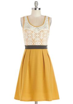 Fanciful Forsythia Dress - Mid-length, Sheer, Knit, Yellow, Black, White, Lace, Pleats, Party, A-line, Tank top (2 thick straps), Better, Sc...